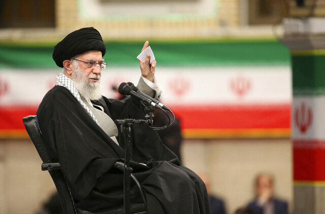 In this photo released by the official website of the office of the Iranian supreme leader, Supreme Leader Ayatollah Ali Khamenei speaks in a meeting in Tehran, Iran, Feb. 5, 2020. Khamenei said Wednesday that Donald Trump's Mideast plan will not outlive the president. (Office of the Iranian Supreme Leader via AP)