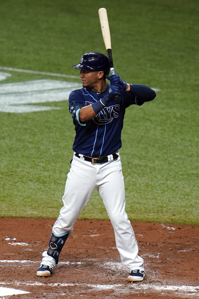 Tampa Bay Rays' Michael Perez bats against the Boston Red Sox during the second inning of a baseball game Friday, Sept. 11, 2020, in St. Petersburg, Fla. Perez is part of the Rays' all-lefty batting order against Boston. (AP Photo/Chris O'Meara)