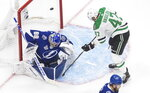 Dallas Stars right wing Alexander Radulov (47) is stopped by Tampa Bay Lightning goaltender Andrei Vasilevskiy (88) during second-period NHL Stanley Cup finals hockey action in Edmonton, Alberta, Saturday, Sept. 19, 2020. (Jason Franson/The Canadian Press via AP)