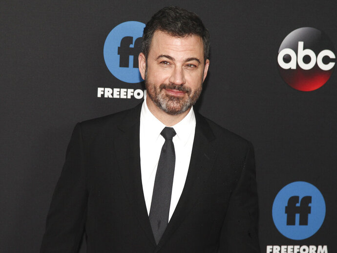 """FILE - In this May 15, 2018 file photo, Jimmy Kimmel attends the Disney/ABC/Freeform 2018 Upfront Party at Tavern on the Green in New York. All in the Family"""" and """"The Jeffersons"""" are coming back to TV, live and for one night only. Norman Lear, who created """"All in the Family"""" and """"The Jeffersons,"""" and Kimmel will host the prime-time special airing live May 22, 2019, on ABC. (Photo by Andy Kropa/Invision/AP, File)"""