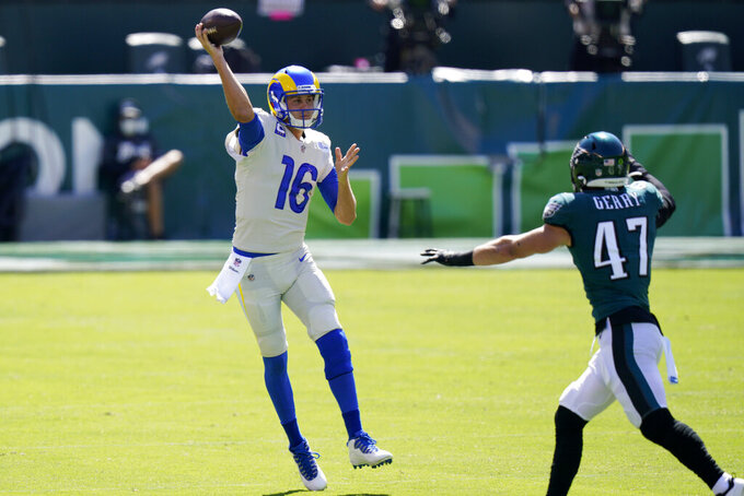 Los Angeles Rams' Jared Goff plays during the first half of an NFL football game against the Philadelphia Eagles, Sunday, Sept. 20, 2020, in Philadelphia. (AP Photo/Chris Szagola)