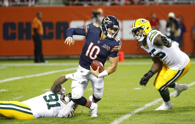 Green Bay Packers' Preston Smith sacks Chicago Bears' Mitchell Trubisky during the second half of an NFL football game Thursday, Sept. 5, 2019, in Chicago. The Packers won 10-3. (AP Photo/Charles Rex Arbogast)