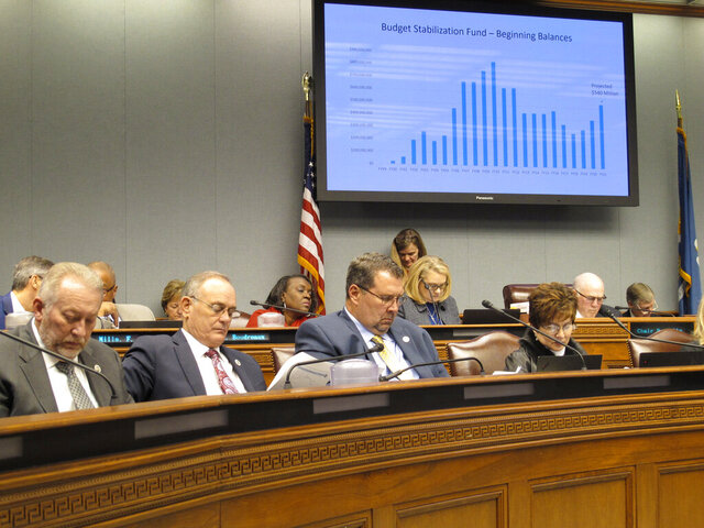 Lawmakers on the Joint Legislative Committee on the Budget follow along with the presentation of Gov. John Bel Edwards' budget proposal for next year, on Friday, Feb. 7, 2020, in Baton Rouge, La. (AP Photo/Melinda Deslatte)
