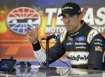 Aric Almirola talks about NASCAR tire tests at Texas Motor Speedway in Fort Worth, Texas, Tuesday, Jan. 9, 2018. (Brad Loper/Star-Telegram via AP)