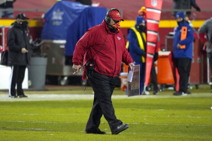 Kansas City Chiefs head coach Andy Reid walks on the field during the second half of the AFC championship NFL football game against the Buffalo Bills, Sunday, Jan. 24, 2021, in Kansas City, Mo. (AP Photo/Jeff Roberson)