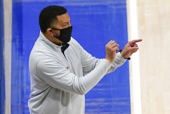 Pittsburgh coach Jeff Capel gives directions as the team plays against Northern Illinois during the second half of an NCAA college basketball game Saturday, Dec. 5, 2020, in Pittsburgh. Pittsburgh won 89-59. (AP Photo/Keith Srakocic)