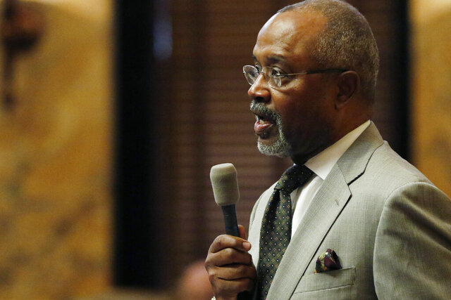 Rep. Robert Johnson, D-Natchez, argues for unemployment assistance for people impacted by the coronavirus during floor debate, Tuesday, March 17, 2020, in Jackson, Miss. (AP Photo/Rogelio V. Solis)