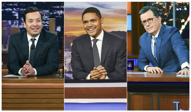 This combination of photos show, from left, host Jimmy Fallon on the set of