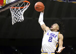 FILE - In this Nov. 8, 2019, file photo, LSU forward Trendon Watford (2) dunks during first half action against Bowling Green during an NCAA college basketball game in Baton Rouge, La. Watford is a member of The Associated Press All-SEC first team in voting announced Tuesday, March 9, 2021. (AP Photo/Brett Duke, File)