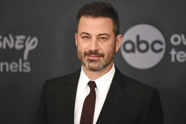 "FILE - This May 14, 2019 file photo shows Jimmy Kimmel at the Walt Disney Television 2019 upfront in New York. Kimmel will host a prime-time edition of ""Who Wants To Be A Millionaire"" with stars as the contestants and winnings earmarked for their causes of choice. It will debut this spring on ABC. (Photo by Evan Agostini/Invision/AP, File)"