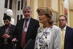 Sen. Lisa Murkowski, R-Alaska, talks to reporters on Capitol Hill in Washington, Wednesday, Jan. 15, 2020. (AP Photo/Susan Walsh)