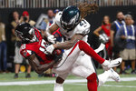 Atlanta Falcons wide receiver Calvin Ridley (18) makes a touchdown catch against Philadelphia Eagles cornerback Ronald Darby (21) during the first half of an NFL football game, Sunday, Sept. 15, 2019, in Atlanta. (AP Photo/John Bazemore)