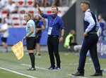 Sweden coach Peter Gerhardsson, centre, reacts during the Women's World Cup third place soccer match between England and Sweden at Stade de Nice, in Nice, France, Saturday, July 6, 2019. (AP Photo/Claude Paris)