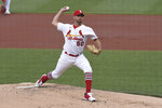 St. Louis Cardinals starting pitcher Adam Wainwright throws against the Miami Marlins during the second inning of a baseball game Monday, June 14, 2021, in St. Louis. (AP Photo/Joe Puetz)