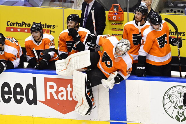 Philadelphia Flyers goaltender Carter Hart (79) returns after the New York Islanders scored an empty-net goal late during third-period NHL Stanley Cup Eastern Conference playoff hockey game action in Toronto, Saturday, Sept. 5, 2020. (Frank Gunn/The Canadian Press via AP)