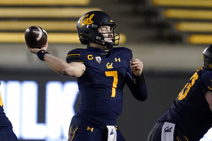 California quarterback Chase Garbers throws a pass against Oregon during the second half of an NCAA college football game in Berkeley, Calif., Saturday, Dec. 5, 2020. (AP Photo/Jeff Chiu)