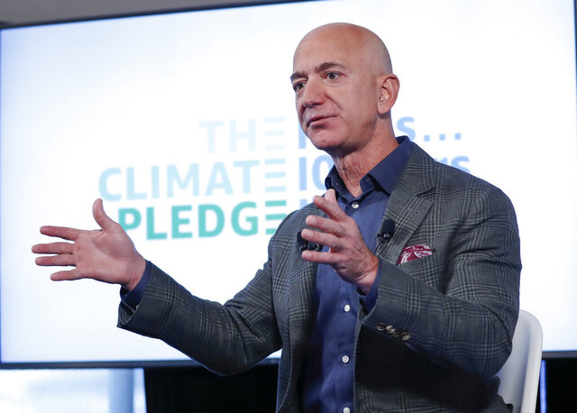 This Sept. 19, 2019 photo shows Amazon CEO Jeff Bezos arriving to a news conference at the National Press Club in Washington. Bezos is willing to testify to the congressional panel investigating the market dominance of Big Tech, but along with other tech industry CEOs, lawyers for the company say, according to a published report Monday, June 15, 2020. (AP Photo/Pablo Martinez Monsivais)