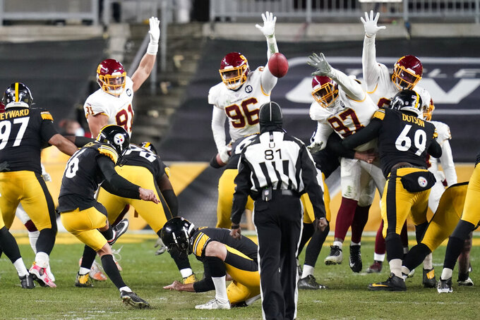 Pittsburgh Steelers kicker Matthew Wright (16) makes a 37-yard field goal during the second half of an NFL football game against the Washington Football Team, Monday, Dec. 7, 2020, in Pittsburgh. (AP Photo/Keith Srakocic)