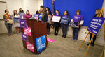 "Lorena Paredes, from Falls Church, Va., speaks during a press conference for a meeting, sponsored by the Pro Choice Coalition, inside the Pocahontas Building in Richmond, Va., Wednesday, Jan. 22, 2020. With a newly empowered Democratic majority at the Virginia General Assembly, abortion-rights advocates say the state has a chance to roll back decades of restrictions and become a ""safe haven"" for women in neighboring conservative states. (Bob Brown/Richmond Times-Dispatch via AP)"