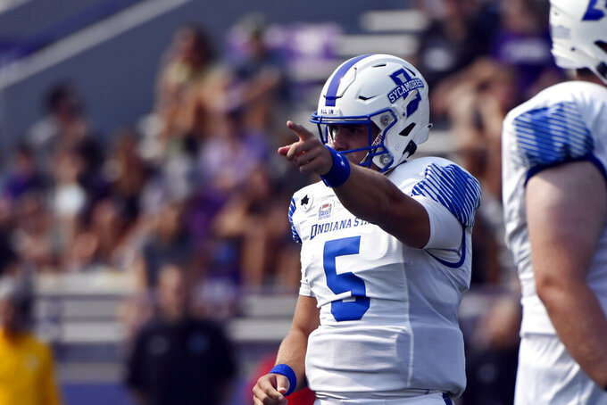 Indiana State quarterback Anthony Thompson (5) points against Northwestern during the first half of an NCAA college football game in Evanston, Ill, Saturday, Sept. 11, 2021. (AP Photo/Matt Marton)
