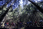 The riders in a breakaway pedal during the stage 13 of the Tour de France cycling race over 191 kilometers from Chatel-Guyon to Puy Mary, Friday, Sept. 11, 2020. (AP Photo/Christophe Ena)