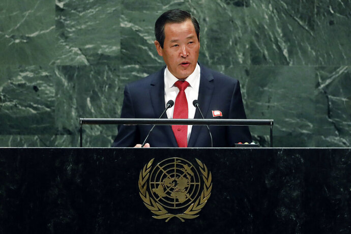 Kim Song, chair of the delegation of North Korea, addresses the 74th session of the United Nations General Assembly, Monday, Sept. 30, 2019. (AP Photo/Richard Drew)