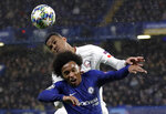 FILE - In this Tuesday, Dec. 10, 2019 file photo, Chelsea's Willian fights for the ball against Lille's Gabriel, rear, during the Champions League Group H soccer match between Chelsea and Lille at Stamford Bridge stadium in London Premier League clubs have been busy in the transfer market in an unusually short offseason because of pandemic-induced late finish to last season. Among the other intriguing transfers is Brazilian center back Gabriel to Arsenal. (AP Photo/Kirsty Wigglesworth, File)