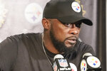 Pittsburgh Steelers head coach Mike Tomlin answers questions during a news conference after an NFL football game against the Las Vegas Raiders, Sunday, Sept. 19, 2021, in Pittsburgh. The Raiders won 26-17.(AP Photo/Keith Srakocic)