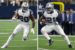 FILE - At left, in a Sept. 22, 2019, file photo, Dallas Cowboys running back Tony Pollard (20) runs the ball against the Miami Dolphins in the second half of an NFL football game in Arlington, Texas. At right, also in a Sept. 22, 2019, file photo, Dallas Cowboys running back Ezekiel Elliott (21) finds running room against the Miami Dolphins in the first half of a NFL football game in Arlington, Texas. Now that the schedule is getting more difficult and Ezekiel Elliott is pretty much up to speed after missing the entire preseason in a holdout, the Cowboys have to decide how prominent a role they want for Pollard after the rookie's firs 100-yard game.(AP Photo/Michael Ainsworth, File)