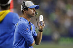 Los Angeles Chargers coach Brandon Staley watches from the sideline during the first half of the team's NFL football preseason game against the Seattle Seahawks, Saturday, Aug. 28, 2021, in Seattle. (AP Photo/John Froschauer)