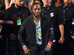 FILE - In this Aug. 27, 2017 file photo, musician Kendrick Lamar arrives at the MTV Video Music Awards in Inglewood, Calif. On Monday, April 16, 2018, Lamar won the Pulitzer Prize for music for his album