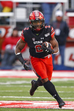 Utah running back Zack Moss (2) carries the ball during the first half of an NCAA college football game against Arizona State on Saturday, Oct. 19, 2019, in Salt Lake City. (AP Photo/Rick Bowmer)
