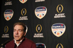 Alabama head coach Nick Saban speaks during an NCAA college football media day on Thursday, Dec. 27, 2018, in Miami Gardens, Fla. Alabama plays Oklahoma in the Orange Bowl on Dec. 29. (AP Photo/Brynn Anderson)
