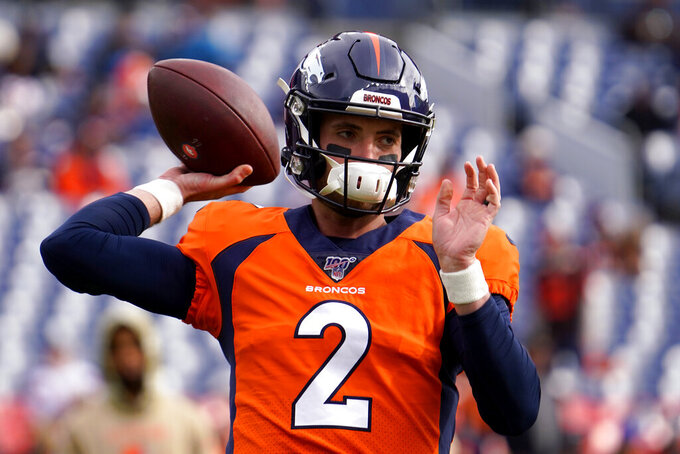 Denver Broncos quarterback Brandon Allen (2) warms up prior to an NFL football game against the Cleveland Browns, Sunday, Nov. 3, 2019, in Denver. (AP Photo/Jack Dempsey)
