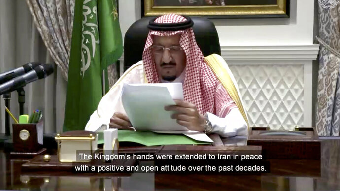 In this image made from UNTV video, King Salman of Saudi Arabia, speaks in a pre-recorded message which was played during the 75th session of the United Nations General Assembly, Wednesday, Sept. 23, 2020, at UN headquarters. (UNTV via AP)