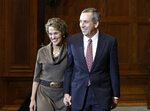 Lawrence Bacow arrives with his wife Adele to be introduced Sunday, Feb. 11, 2018, in Cambridge, Mass., as the 29th president of Harvard University. Bacow, former president of Tufts University and a leader-in-residence at Harvard's Kennedy School of Government, assumes the office July 1. He will succeed Drew Faust, 70, who has served in the post for more than a decade as Harvard's first female president. (AP Photo/Bill Sikes)