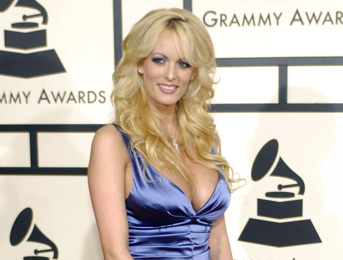 FILE - In this Feb. 10, 2008 file photo, adult film star Stormy Daniels arrives at the 50th Annual Grammy Awards in Los Angeles. CBS News President David Rhodes says that a