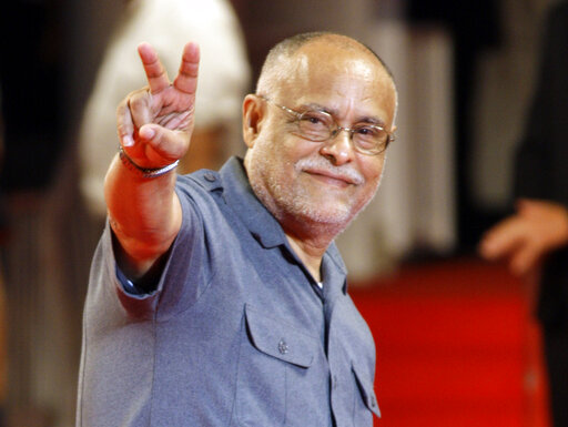 """FILE - Director Haile Gerima arrives for a screening at the 65th edition of the Venice Film Festival in Venice, Italy, on Sept. 2, 2008. The 75-year-old LA Rebellion filmmaker is getting renewed attention with a restoration of his 1993 film """"Sankofa"""" and an honor from the new Academy Museum. (AP Photo/Andrew Medichini, File)"""