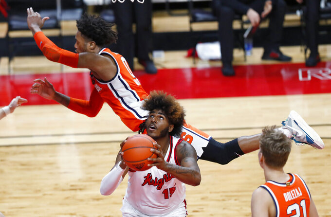 Rutgers center Myles Johnson (15) is fouled by Syracuse forward Alan Griffin (0) during the second half of an NCAA college basketball game in Piscataway, N.J., Tuesday, Dec. 8, 2020. (AP Photo/Noah K. Murray)