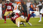 San Francisco 49ers' Marcell Harris (36) tackles and forces a fumble by Cleveland Browns' Odell Beckham Jr. on a punt return, which the 49ers recovered, during the second half of an NFL football game in Santa Clara, Calif., Monday, Oct. 7, 2019. (AP Photo/Tony Avelar)