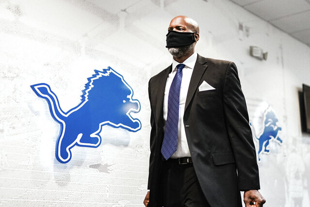In a photo provided by the Detroit Lions, Detroit Lions general manager Brad Holmes arrives on his first at the NFL football team's practice facility Tuesday, Jan. 19, 2021 in Allen Park, Mich. (Detroit Lions via AP).