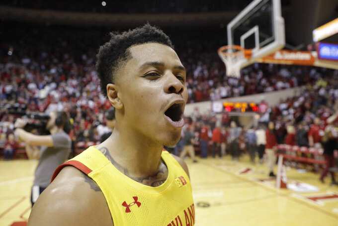 Maryland's Anthony Cowan Jr. shouts after his team defeated Indiana in an NCAA college basketball game, Sunday, Jan. 26, 2020, in Bloomington, Ind. (AP Photo/Darron Cummings)