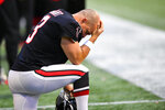 Atlanta Falcons kicker Matt Bryant (3) kneels on the sidelines during the second half of an NFL football game against the Seattle Seahawks, Sunday, Oct. 27, 2019, in Atlanta. The Seattle Seahawks won 27-20. AP Photo/John Amis)