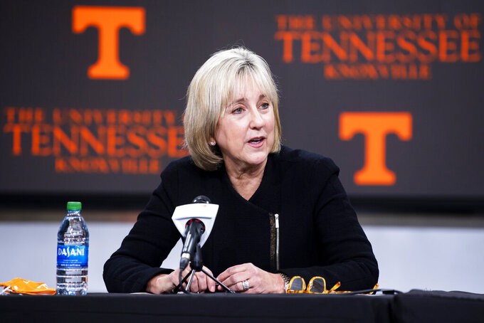 "University of Tennessee Chancellor Donde Plowman speaks during a press conference in Knoxville, Tenn., Monday, Jan. 18, 2021. Tennessee has fired football coach Jeremy Pruitt, two assistants and seven members of the Volunteers' recruiting and support staff for cause after an internal investigation found what the university chancellor called ""serious violations of NCAA rules.""  Chancellor Donde Plowman said Pruitt was responsible for overseeing the program. (Brianna Paciorka/Knoxville News Sentinel via AP)"