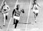FILE - In this Sept. 5, 1960, file photo, Rafer Johnson of the United States, center, finishers the fourth heat of the decathlon 100 meter dash at the Olympics in Rome, Italy. Eef Kamerbeek of Netherlands is at left, and Gurbachan Singh Randhawa of India is at right. Sports in 2020 was in an unending state of mourning. The Olympic flame flickered for Rafer Johnson. (AP Photo/Olympic Pool, File)