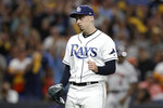 Tampa Bay Rays pitcher Blake Snell pumps his fist after the final out against the Houston Astros in Game 4 of a baseball American League Division Series, Tuesday, Oct. 8, 2019, in St. Petersburg, Fla. The Rays won 4-1. (AP Photo/Chris O'Meara)