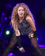 "FILE - This Aug. 10, 2018 file photo shows Shakira performing in concert at Madison Square Garden in New York. The Board of Hipgnosis Songs Fund Limited, a U.K.-based investment company, has acquired 100% of Grammy-winning superstar Shakira's music publishing rights. Hipgnosis made the announcement Wednesday. Shakira's catalog includes 145 songs, including ""Hips Don't Lie,"" ""Whenever, Wherever,"" ""La Tortura,"" ""She Wolf"" and ""Waka Waka (This Time for Africa).""  (Photo by Greg Allen/Invision/AP, File)"