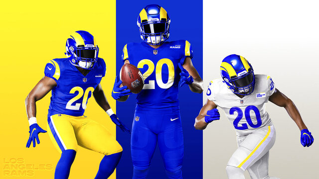 This undated graphic image released by the Los Angeles Rams NFL football team shows a composite of their new uniforms - two versions of 'royal,' from left, and 'bone' at right. The Rams have unveiled new uniforms ahead of their move into SoFi Stadium this year. (Los Angeles Rams via AP)