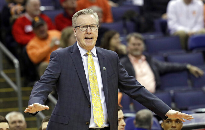 Iowa head coach Fran McCaffery yells instructions to players in the first half against Cincinnati during a first round men's college basketball game in the NCAA Tournament in Columbus, Ohio, Friday, March 22, 2019. Iowa won 79-72. (AP Photo/Tony Dejak)