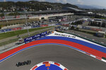 Mercedes driver Valtteri Bottas of Finland steers his car during the first practice session for the upcoming Russian Formula One Grand Prix, at the Sochi Autodrom circuit, in Sochi, Russia, Friday, Sept. 25, 2020. The Russian Formula One Grand Prix will take place on Sunday. (Kirill Kudryavtsev, Pool via AP)